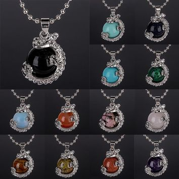Vintage Gem Stone Chain Neckalces Shellhard Charming Round Beads Ball Dragon Pendant Necklace For Women Fashion Jewelry