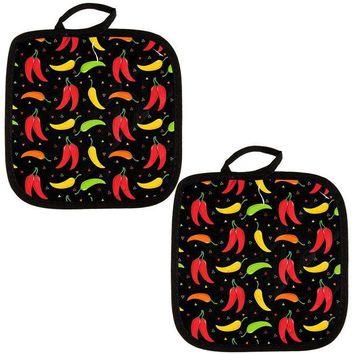 DCCKIS3 Cinco de Mayo Chili Pepper Fiesta Repeat Pattern Pot Holder (Set of 2)