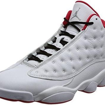 Nike Air Jordan 13 Retro Men's Basketball Shoes White/Metallic Silver/University Red, 9.5  air jordans in white