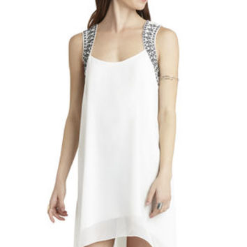 Embroidered Yoke Dress in White - BCBGeneration