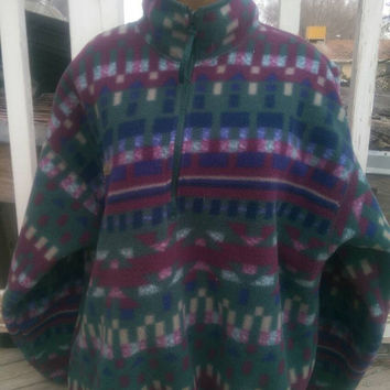 Vintage Columbia patagonia pattern fleece pullover xl women