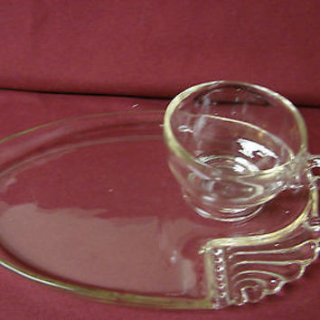 # Vintage Federal Glass 50-60 Era Feg5  Clear Wings & beaded Handles Snack set