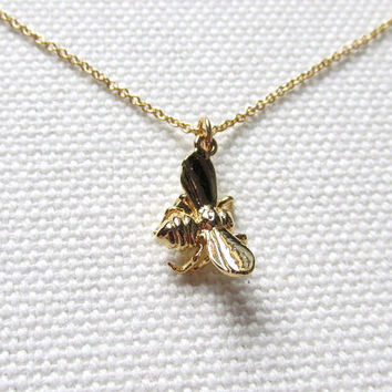 Tiny Bee Necklace Gold Honey Bee Charm 14k Gold Fill Chain Dainty Petite Simple Jewelry, Quirky Cute Animal Jewelry