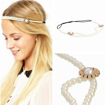 Accessory Stylish Pearls Floral Stretch Hairband [8026328263]