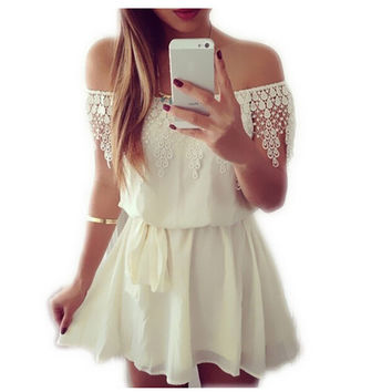 Off the Shoulder Strapless Lace Chiffon Dress