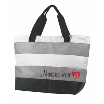 Nurse Tote Bag Gray Embroidered Nurses Have Heart Think Medical 01704