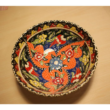 Handmade and Handpainted Multicoloured Embossed Ceramic Bowl  FREE SHIPPING