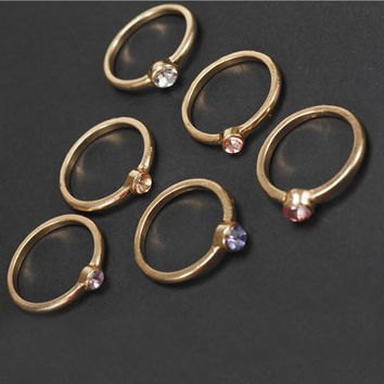 6PCS Antique Gold Plated Rings with Rhinestones