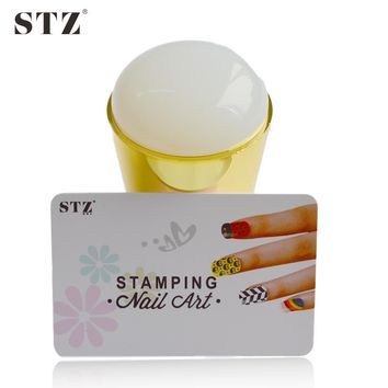1Set NEW Silicone Nail Art Stamper Jumbo Squishy Jelly DIY Polish Stamper + Scraper Sets Stencils Manicure Tools y_ND215