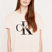 Calvin Klein Square Cut Pink Tee - Urban Outfitters