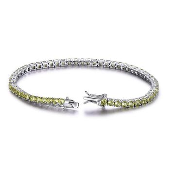 Luxury Peridot Bracelet For Women 925 Sterling Silver Jewelry