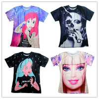 2016 New men/women skull/Barbie girl/Alice princess Print 3d t shirt Unisex Tees Harajuku t-shirt plus size S-XXL Drop Shipping
