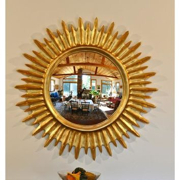 "42"" Antique Gold Solarburst Convex Decorative Wall Mirror"