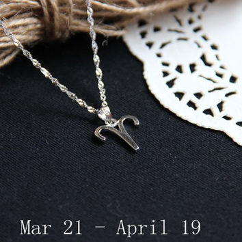 Sterling silver Aries Necklace, Zodiac Necklace, Petite Necklace, Simple Necklace, Everyday Necklace, Tiny Necklace, Dainty Jewelry