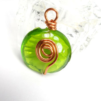 Wire Wrapped Pendant, Lime Green Glass Pendant, Necklace, Jewelry Supplies P40