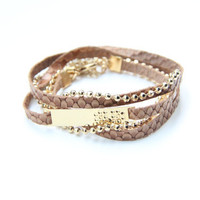 Arm warp - 3 times- Brown leather and 24k gold plated chain