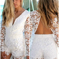 Coco Island White Long Sleeve Lace Deep-V Romper
