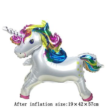 New 10 piece stereo unicorn standing aluminum balloons air ballons children birthday party wedding decor supplies ballon Globos
