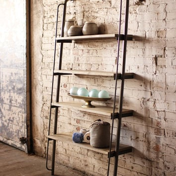 Leaning Wood & Metal Shelving Unit Large