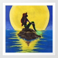 The Little Mermaid Sunset (version 2) Art Print by Sierra Christy Art