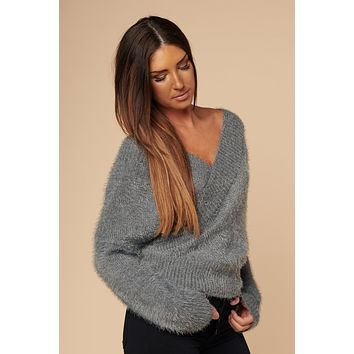 Fun & Fuzzy Crossover Sweater (Grey)