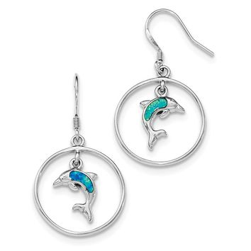 Sterling Silver Rhodium Circle with Created Blue Opal Dolphin Dangle Earrings