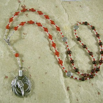 Morrigan Prayer Bead Necklace in Carnelian and Garnet: Irish Celtic Goddess