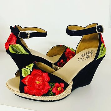 Mexican Embroidered Wedge Sandals Black