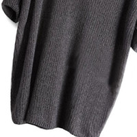 V-Neck Loose Knit Half Sleeve Sweater