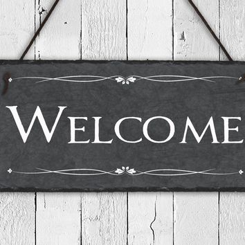 Handmade and Customizable Slate Welcome Sign