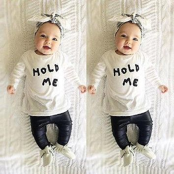 New Baby Toddler Girl Boy Spring Autumn Clothes Cute Casual HOLD ME T-shirt Tops Clothes+ PU Leather Pants Outfit Sets 3 6m