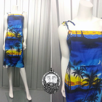 Vintage 90s Hawaiian Dress Sarong Wrap Blue Sunset Summer Spaghetti Straps Made in Hawaii Club Kid Photo Print Tiki Dress Luau Dress Beach