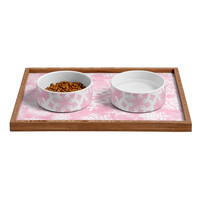 Lisa Argyropoulos Snow Flurries in Pink Pet Bowl and Tray
