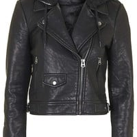 Faux Leather Hooded Biker Jacket - Topshop