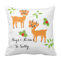 Hugs and Kisses Cute Cartoon Festive Reindeer Throw Pillows