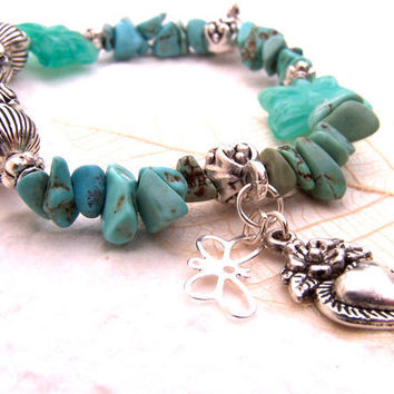 Butterfly Bracelet, Turquoise Stone, Butterfly Beads, Silver Charms, Stretch, Spring Jewelry