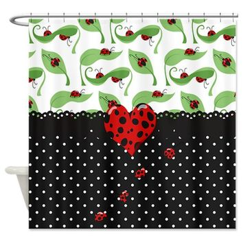 Ladybug Bliss Black Polka Dots Shower Curtain