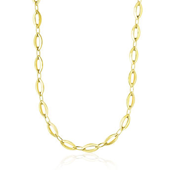 14K Yellow Gold Cable Marquis and Oval Link Design Necklace