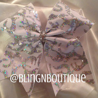 White Fire - White & Silver Sequin Cheer Bow
