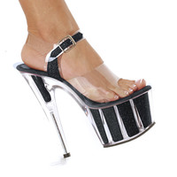 "7"" Ankle Strap Glitter Platform Stripper Shoes"