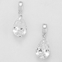 Silver Cubic Zirconia Tear Drop Earrings
