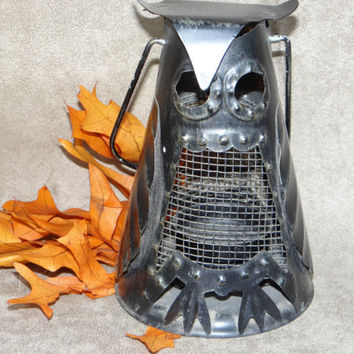 Vintage Tin Owl Lantern, Black Halloween Candle Holder