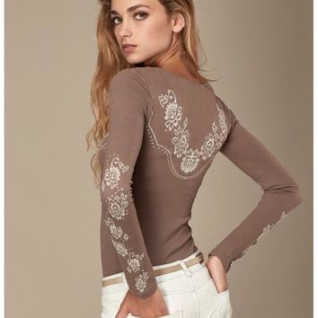 Fashion Shirt Longsleeve Floral Print