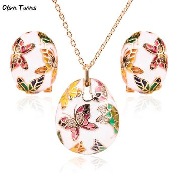Olsen Twins Colorful Cloisonne Enamel Butterfly Pendant Necklace Earrings Set, Plated Gold Bridal Jewelry Sets