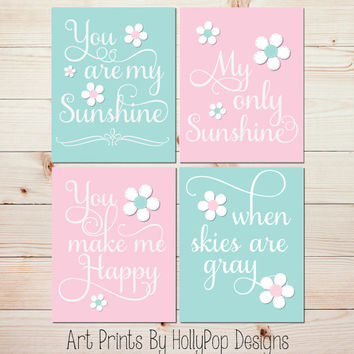 Pink Aqua Wall art Baby Girl Nursery Artwork You are My Sunshine Wall Art Toddler Girl Bedroom Wall Art Set of 4 four Decor Art Prints #1032
