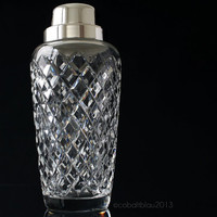 Crystal Cocktail Shaker Cut Glass Cocktail Shaker Silver Plated Vintage Barware Art deco Martini shaker Bar cart Accessories