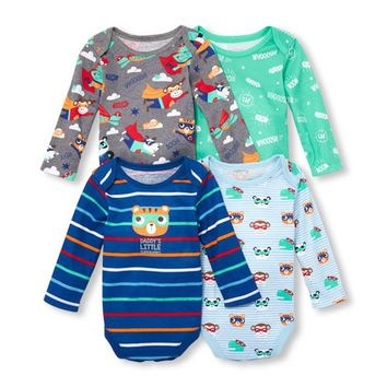 Baby Boys Long Sleeve Superhero Printed Bodysuit 4-Pack