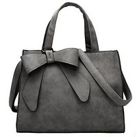 Large Bow Leather Purse