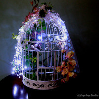 Decorative Birdcage / Card Holder Birdcage for weddings / Birdcage with Fairy Lights and Crystal Garland / Large White Bird Cage