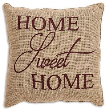 """Home Sweet Home Natural 12"""" Pillow"""